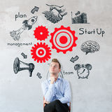 Teamwork concept. Portrait of thoughtful young european businessman on concrete background with business sketch. Teamwork concept Stock Images