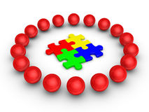 Teamwork concept with puzzle pieces. 3d spheres around four connected puzzle pieces Stock Photography