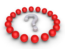 Teamwork concept with a question mark at the center Royalty Free Stock Photo