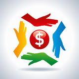 Teamwork concept. save money with hands icon Stock Image