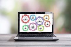 Teamwork concept on a laptop screen. Teamwork concept shown on a laptop screen royalty free stock image