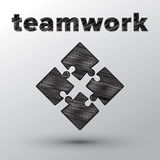 Teamwork concept with sketched puzzle pieces Royalty Free Stock Photo