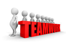 Teamwork concept with success 3d people team Stock Photos