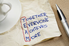 Teamwork concept. TEAM acronym (together everyone achieves more), teamwork motivation concept - a napkin doodle Royalty Free Stock Image