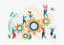 Free Teamwork Concept. Team Building. Team Metaphor. Together Concept. Vector Illustration. Flat Cartoon Character Graphic Design. Royalty Free Stock Photo - 141427385