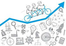 Teamwork concept. Team riding a tricycle -  icons Stock Image