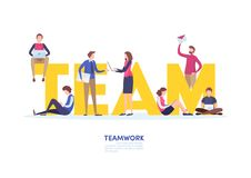 Teamwork concept. team,together,co working space. Abstract graphic design. Flat cartoon miniature illustration vector graphic. Teamwork concept. team,together royalty free illustration