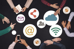 Teamwork concept - top view of six creative people working Social Media Icon Concept Stock Photos