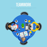 Teamwork concept. Top view workspace background Stock Images