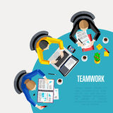 Teamwork concept. Top view workspace background. Vector illustration. Business workplace with people, paperwork, laptop, smartphone, cup of coffee and other Royalty Free Stock Image