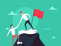 Teamwork concept. Two businessmen together rise on mountain with flag. Give help hand. Collaboration concept. Vector flat design. Isolated on background stock illustration