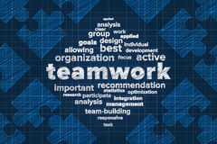 Teamwork concept with word cloud and puzzle pieces Royalty Free Stock Photo
