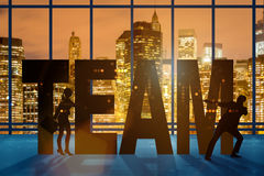 The teamwork concept with the word team Stock Photos