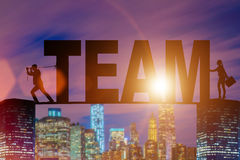 The teamwork concept with the word team Stock Photography