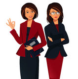 Teamwork Concept .Young Smiling Businesswoman Showing Ok Sign Stock Photography