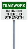 Teamwork. Conceptual road sign on teamwork Stock Image