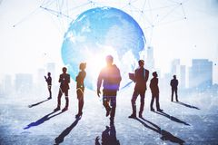 Teamwork, connection and global business concept stock photos