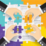 Teamwork connection puzzle  infographic design. Royalty Free Stock Photography