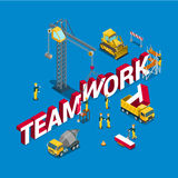 Teamwork construction building word flat 3d isometric vector. Teamwork flat 3d isometry isometric concept web vector illustration. Construction site workers Royalty Free Stock Photography