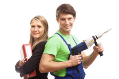 Teamwork in construction company Stock Images