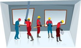 Teamwork of construction workers (vector). Team of construction workers building new concrete house Stock Photography