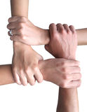 Teamwork And Cooperation. Abstract hand is teamwork And Cooperation Royalty Free Stock Images