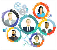 Teamwork, cooperation, connections. Individual portraits in wheels with interconnected cogs to represent teamwork, cooperation, collaboration or connections Royalty Free Stock Image