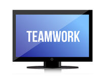 Teamwork copy on a flatscreen Stock Image