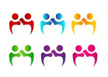 Teamwork couple of people together logo royalty free stock photography