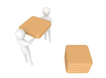 Teamwork: 3d men carrying a wooden cube, 3d illustration Royalty Free Stock Photography