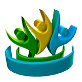 Teamwork 3D people logo. Teamwork 3D happy success people icon logo Royalty Free Stock Images