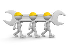 Teamwork. 3d people - men, person with a wrench. Businessman and builder. Teamwork Royalty Free Stock Images