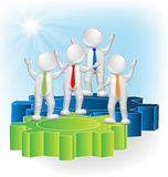 Teamwork 3d people. Over gear wheals giving ideas Royalty Free Stock Images