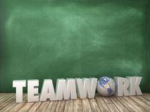 TEAMWORK 3D Word with Globe World on Chalkboard Background. High Quality 3D Rendering stock illustration