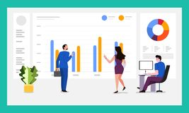 Teamwork data analytics. The teamwork together working analysis data analytics with large monitor display graph and chart. Vector illustrations vector illustration
