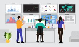 Teamwork data analytics. The teamwork together working analysis data analytics with large monitor display graph and chart. Vector illustrations royalty free illustration
