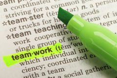 Teamwork  Definition. The Word VTeamwork Highlighted in Dictionary with Green Marker Highlighter Pen Stock Photo