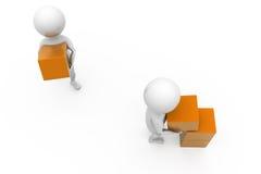 Teamwork des Mannes 3d mit Würfelkonzept Lizenzfreies Stockfoto