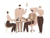 Teamwork design, brainstorming creative idea. Vector concept stock illustration