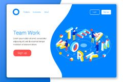 Teamwork design concept. Teamwork 3d word lettering typography with office workers and computers. Flat 3d isometric style. Landing page template. Vector stock illustration