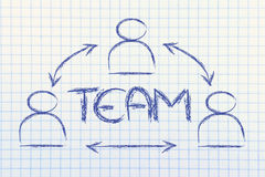 Teamwork, design with group of collaborative co-workers. Concept of team, design with group of colleagues interacting Royalty Free Stock Images