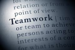 Teamwork. Dictionary definition of the word teamwork Royalty Free Stock Photo