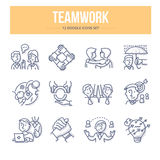 Teamwork Doodle Icons Stock Photography