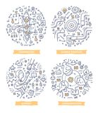 Teamwork Doodle Illustrations. Doodle  illustrations of teamwork, cooperation and communication in team, achieving business goals. Concept of working together in Stock Photo