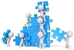 Teamwork. The dude x 7 building large puzzle. Blue vector illustration