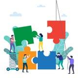teamwork Elementi di collegamento di puzzle della gente royalty illustrazione gratis