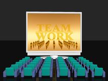 Teamwork, empty cinema room. 3D illustration,  background.  Conference room for internet video conference. Empty seats, big tv LCD screen with teamwork logo Royalty Free Stock Photo
