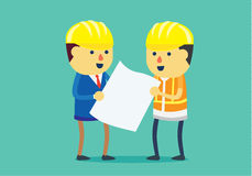 Teamwork of engineer and architect. Engineer and architect wearing helmet and looking blueprint for working together in difference roles in team. This stock illustration