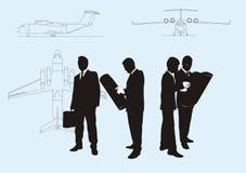 Teamwork engineers, silhouette Stock Photo