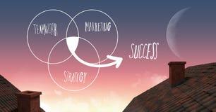 Teamwork-Erfolgsmarketing-Diagramm im Himmel über Dächern mit Mond Stockfotos